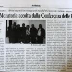 """4 agosto 2012 - Aspal: """"Moratoria accolta dalla Conferenza delle Regioni"""""""