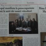2 aprile 2014 - L'Aspal manifesta preoccupazione per le sorti dei nostri viticultori