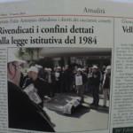 12 marzo 2014 - Rivendicati i confini dettati dalla legge del 1984